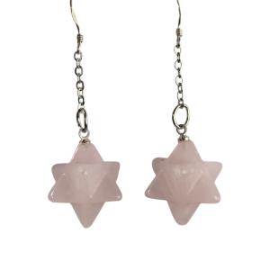 Rose quartz star earrings